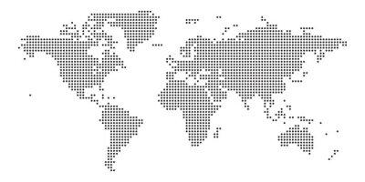 Naklejka World map black point white background isolated . Vector illustration.