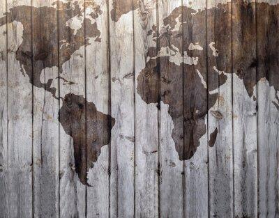 Naklejka World map drawn on canvas wood effect