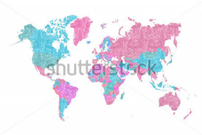 Naklejka World Map in pink and blue glitter and sparkles, with plenty of space to insert your own quote under the image.