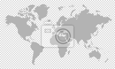 world map on transparent background