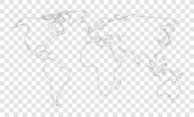 world map on transparent outline background