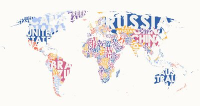 Naklejka World map text composition, name of countries in color territories, Typographic vector illustration