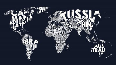 Naklejka World map text composition of country names, typographical black and white vector illustration