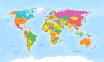 Naklejka World map wektorowych. Etykiety English / US