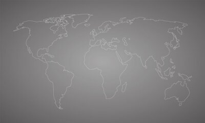 world map white outline on gray background