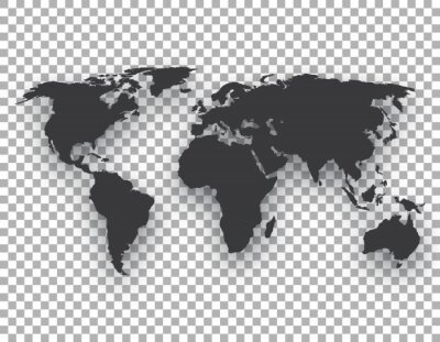 world map with shadow on transparent background
