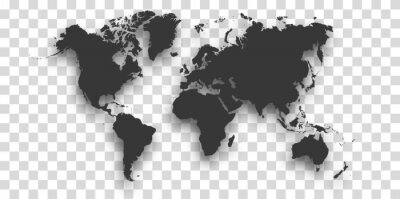 World map with shadow - vector illustration of earth map on transparent background