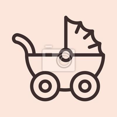 Wózek dla dziecka wózek minimalistyczny płaski linia koło obrysu ikona symbol piktogram