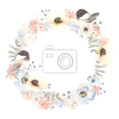 Wreath with birds Chickadee, flowers anemone, leaves and branches. Vector floral illustration in vintage watercolor style on white background.