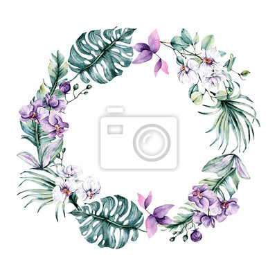 Wreath with watercolor flowers orchids and leaves. Tropical design for wedding stationary, greeting card, fashion, background, postcard etc. Hand painting.