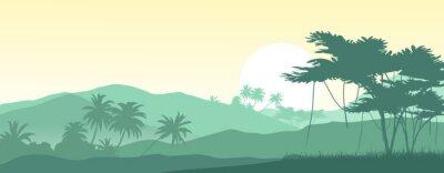 Naklejka Wschód słońca w tropikalnych górach. Ilustracji wektorowych.