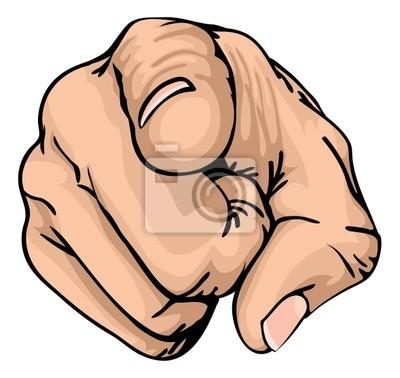 wskazując palcem