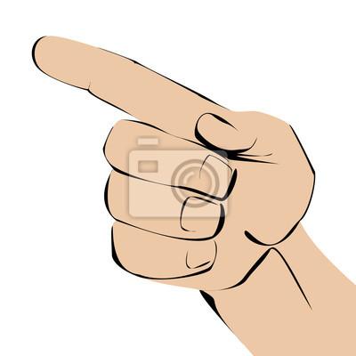 Wskazując ręką na białym tle.
