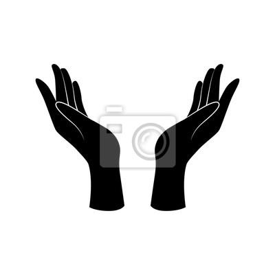 Naklejka Wsparcie, opieka, gest ręki piękna. Ikona wektor.