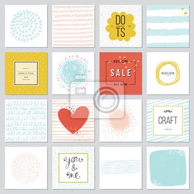 Współczesne karty uniwersalne kwadratowe szablony. Projektowanie zaproszeń, plakatów, broszur i ulotek. Również do newslettera, sprzedaży i banerów reklamowych.