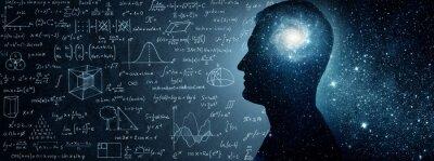 Naklejka Wszechświat w środku. Sylwetka człowieka wewnątrz wszechświata, formuły fizyczne i matematyczne. Pojęcie na tematy naukowe i filozoficzne. Elementy tego zdjęcia dostarczone przez NASA.