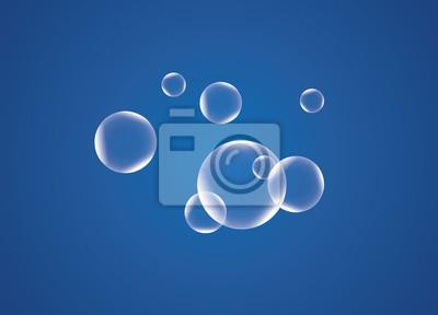 Wyciągnąć plastikowe przezroczyste pęcherzyki na niebieskim tle