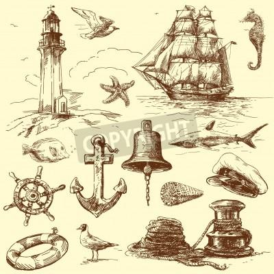 Naklejka wyciągnąć rękę kolekcja morskie