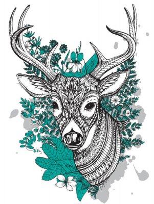 Naklejka Wyciągnąć rękę wektor rogaty jelenia z wysokich detalach ozdoba