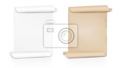Naklejka Wyczyść nowe i stare zwój papieru. Arkusz obraca się po obu stronach