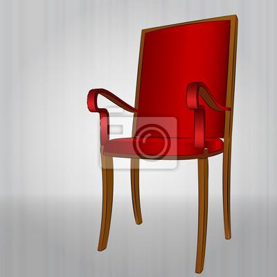wygodne czerwony fotel widok perspektywiczny vector