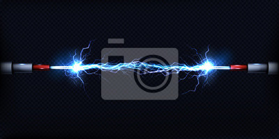 Naklejka Wyładowanie elektryczne przechodzące przez powietrze między dwoma kawałkami nagich drutów lub kabli zasilających 3d realistyczne wektor ilustracja na przezroczystym tle. Koncepcja zwarcia zasilania el