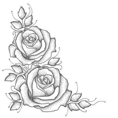 Naklejka Wynikają z przerywaną kwiat róży i liści samodzielnie na białym tle. elementy kwiatowe w stylu dotwork.
