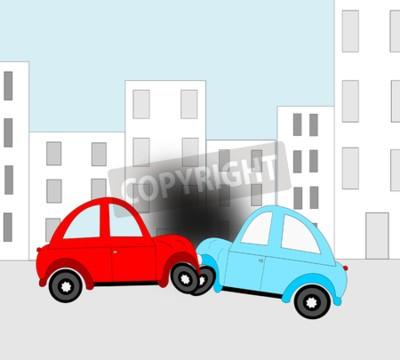 Naklejka Wypadek, wypadek samochodowy dwa samochody w mieście