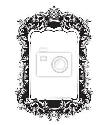 Naklejka Wyrafinowana rama Baroque Mirror. Wektor Francuski luksusowy bogaty skomplikowanych ozdób. Dekory w stylu wiktoriańskim Royal Style