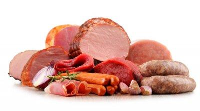 Naklejka Wyroby mięsne, w tym wędlin samodzielnie na białym tle