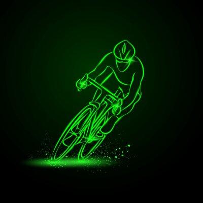 Naklejka wyścigu kolarskiego. Przedni widok. Wektor ilustracji neon.