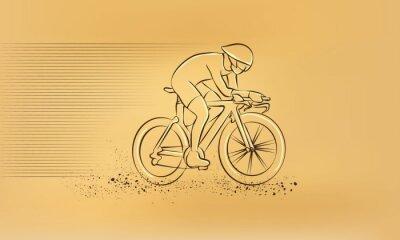 Naklejka wyścigu kolarskiego. Wektor retro rysunek ilustracji.