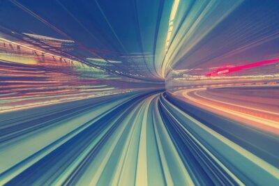 Naklejka Wysoka prędkość koncepcji technologii poprzez jednotorowe Tokio
