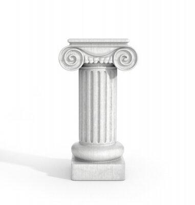 Naklejka Wysoki dorycka Kolumna Filar Pojedynczo na białym tle. Piedestał.