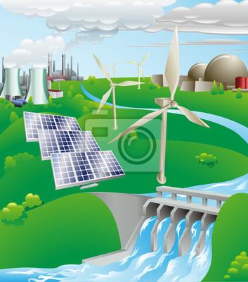Wytwarzanie energii elektrycznej moc ilustracji