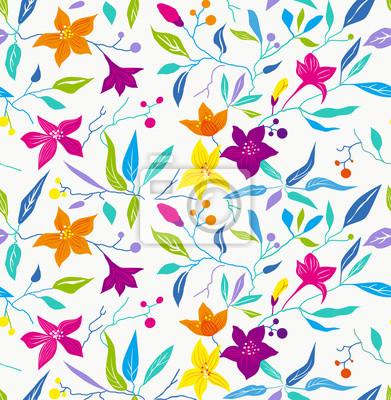 wzór, bez szwu, kwiat, jasny, nowoczesny