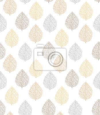 wzór, bez szwu, liść, drzewo, brązowy, srebrny, złoty