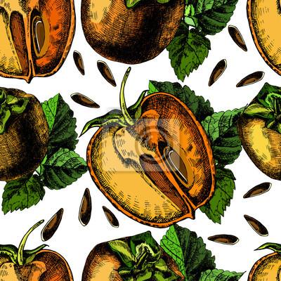 wzór dojrzałych persimmon.