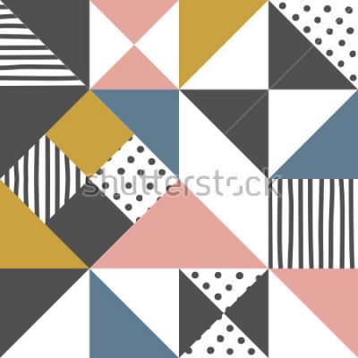 Naklejka Wzór geometryczny. Streszczenie tło trójkąt z ręcznie rysowane pasek i polka dot ilustracji wektorowych.