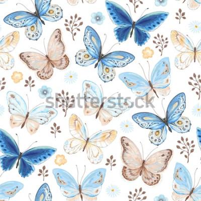 Naklejka Wzór latających motyli kolory niebieski, żółty i brązowy. Wektorowa ilustracja w rocznika stylu na białym tle.