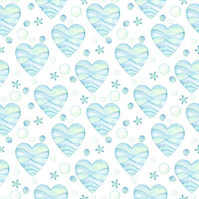 wzór niebieskie akwarele serca