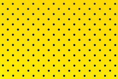 Naklejka wzór tapety czarne kropki w kolorze żółtym tle