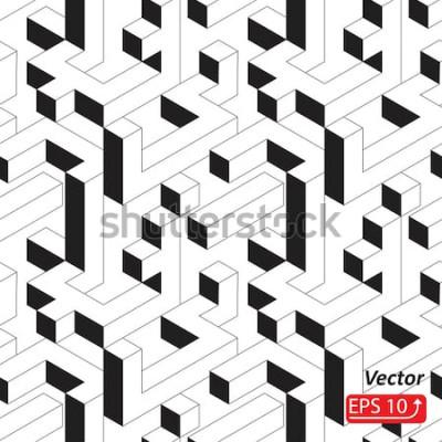 Naklejka Wzór z domów, budynków, miasta, miasta w stylu izometrycznym. Czarny i biały Abstrakcjonistyczna 3D tła wektoru ilustracja