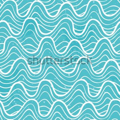 Naklejka Wzór z fal oceanu w ozdobnym stylu. Ilustracji wektorowych.