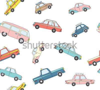 Naklejka Wzór z ładny retro ręcznie rysowane samochody