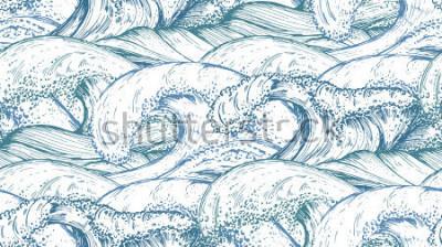 Naklejka Wzór z ręcznie rysowane fale morskie w stylu szkicu. Wektorowy niekończący się tło w błękitnych kolorach.