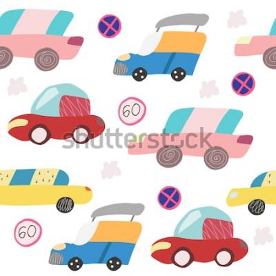 Naklejka Wzór z ręcznie rysowane samochodu na drodze. Skandynawski styl dla dzieci. Ilustracja kreskówka
