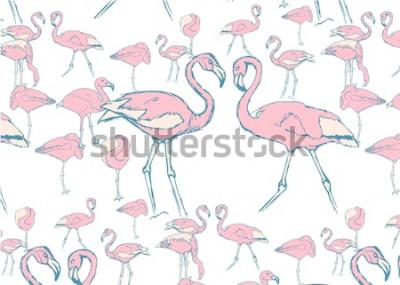 Naklejka wzór z różowymi flamingami w wodzie w różnych pozach i dwoma flamingami z szyją w kształcie serca