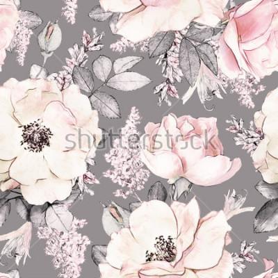 Naklejka Wzór z różowymi kwiatami i liśćmi na szarym tle, kwiat wzrastał w pastelowym kolorze, tileable dla tapet, karty lub tkaniny,.
