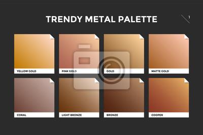 Naklejka Wzór złota, miedzi i brązu. Kolekcja palety kolorowe metalowe gradientu ilustracje dla t? Ai tekstury. Realistyczne metalowe kwadraty palety. Ilustracja wektora